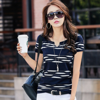 Korean-style Striped short-sleeved female T-shirt Women's Top (Dark blue color)