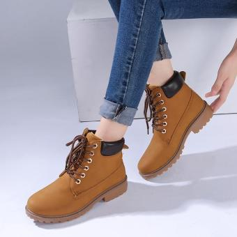 LALANG Fashion Women Ankle Martin Boots Military Combat ShoesYellow - intl