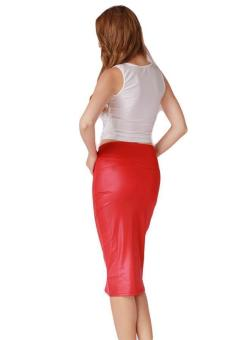 lalang women high waist leather mermaid skirt red lazada ph