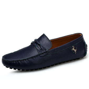 Leather Casual Driving Loafers - Blue