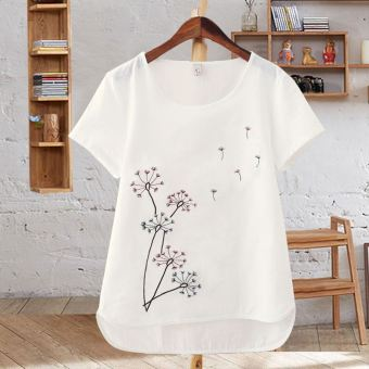 LOOESN cotton white embroidered flower Short sleeve t-shirt cotton linen Top (Dandelion)
