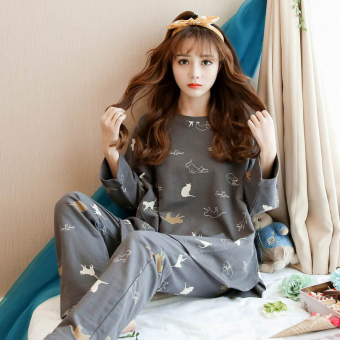 LOOESN Korean-style cotton female long-sleeved tracksuit pajamas (09_W9111 # Cat dark gray)