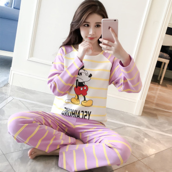 LOOESN Korean-style cotton female long-sleeved tracksuit pajamas (Purple strip Mickey)