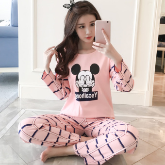 LOOESN Korean-style cotton female long-sleeved tracksuit pajamas (Vermicelli COFFEECAT)