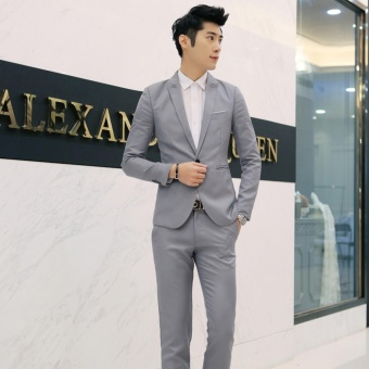 Men Formal Wedding Bridegroom Suit One Button Slim Fit Jacket Tuxedos Coat Pants - intl