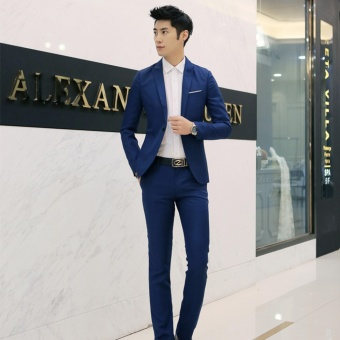Men Formal Wedding Bridegroom Suit One Button Slim Fit JacketTuxedos Coat Pants(Royal Blue) - intl