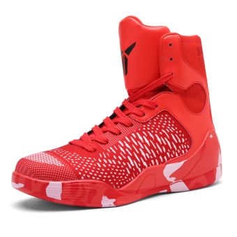 Men hight-top autumn New style men's shoes basketball shoes (2090 red)