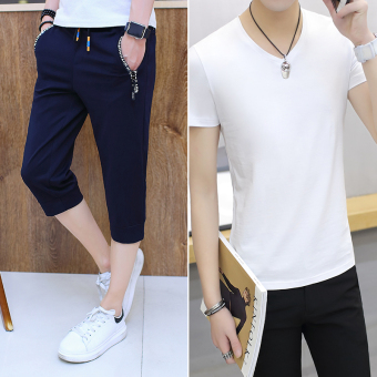 Men summer capris Capri pants (Dark blue color 6016 (to send T-shirt))