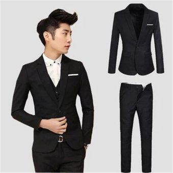 Men's Business Set Slim Fit Casual One Button Suit Blazers Coat Jacket And Business Trousers Men Sets Suits & Pants - intl
