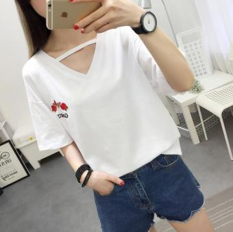 Mengqifu Women's Loose Floral Embroidered V-Neck Short Sleeve T-Shirt - White - Black (White)