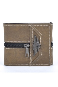 Men's 3 Fold Retro Manmade Canvas Multi-Card Wallet (Coffee)