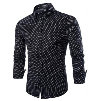 Men's Casual Polka Dot Long Sleeve Turn-down Collar Shirt (Black)(Intl)