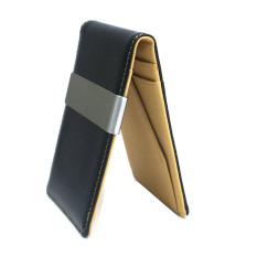 designer wallet with money clip q42a  Men's Faux Leather Metal Money Clip Wallets Coffee