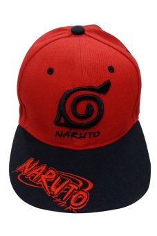 Naruto - Konoha Designed Bull Cap (Red/Black)