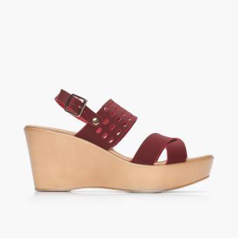 Parisian Basic Ladies Perr Wedge Sandals (Maroon)