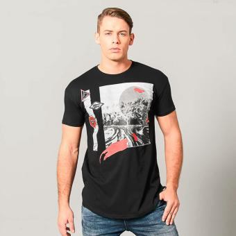 Penshoppe Long-Line Graphic Tee With Patches (Black)