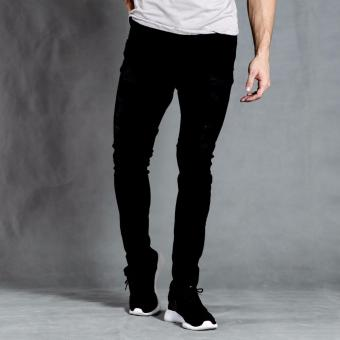 PENSHOPPE Rip and Repair Skinny Fit Jeans (Black)