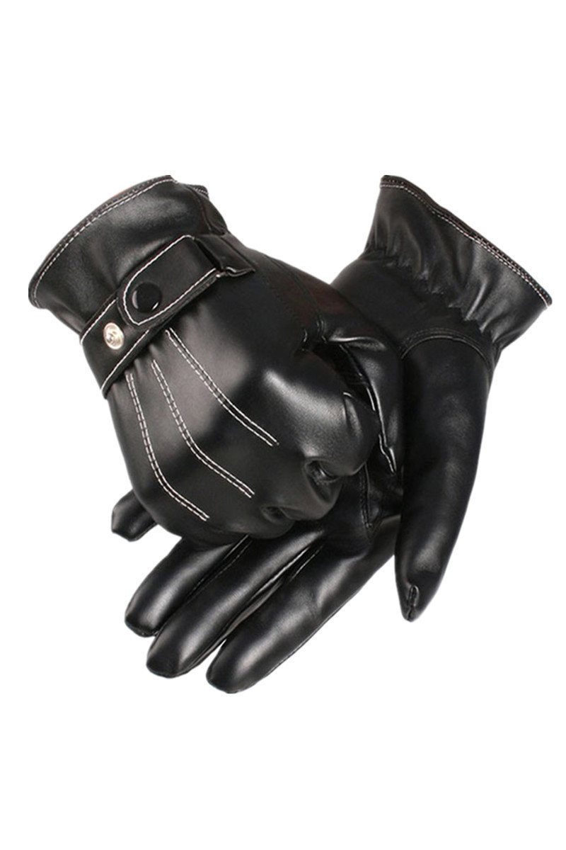 Driving gloves for sale philippines - Pu Leather Winter Super Driving Warm Gloves Cashmere Black Intl