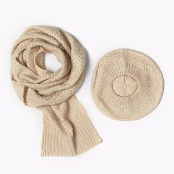SM Accessories Knitted Muffler and Beret Set (Beige)