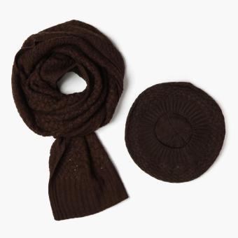 SM Accessories Knitted Muffler and Beret Set (Brown)