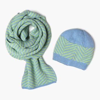 SM Accessories Ladies Knitted Muffler and Beanie Set (Blue)