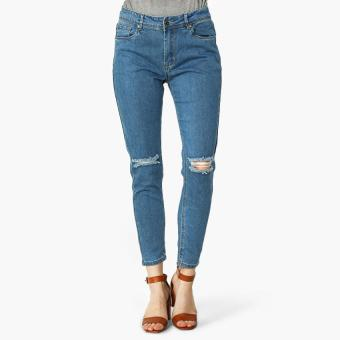 SM Woman Knee-Ripped Skinny Jeans (Light Blue)