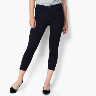 SM Woman Side-zip Cropped Skinny Jeans (Navy Blue)
