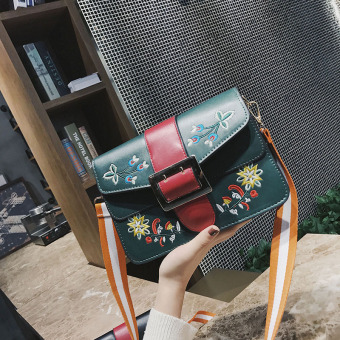 Small Square Korean-style bag female wide sling bag Crossbody Bag bag (Green)