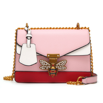Small Square Korean-style bee lock bag sling bag Crossbody Bag (Pink)