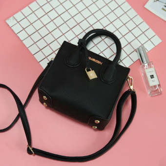 Small Square Korean-style mini bag female shoulder bag (Black)