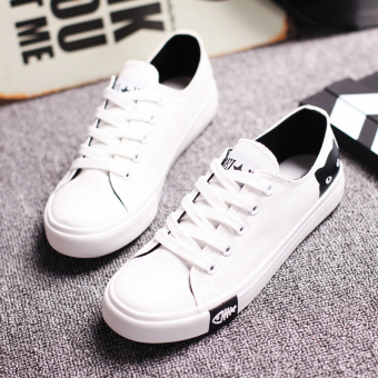 Sports Korean-style black girls shoes canvas shoes (White)
