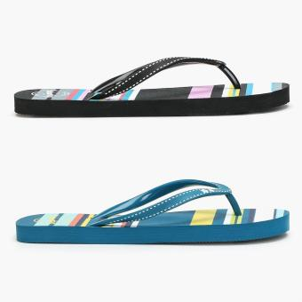 Toeberries 2 pairs Asther Stripes Black and Blue Ladies Flip-flops (Size 10)