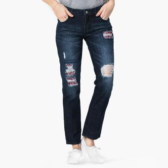 True Love Distressed Boyfriend Jeans (Navy Blue)