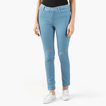 True Love High Waist Ripped Skinny Jeans (Light Blue)