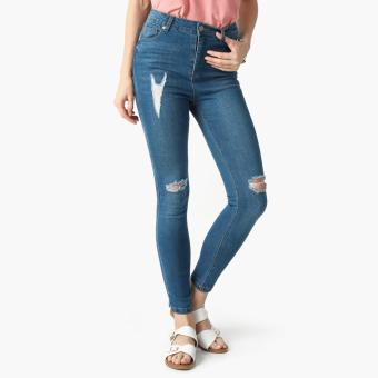 True Love Medium Wash Distressed Skinny Jeans (Denim)