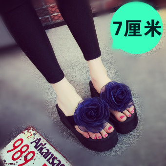 Versatile Female Summer Cooljie sandals slippers (Dark blue color)