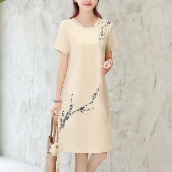 Women Elegant Plus Size A-Line Dress Linen Floral Working Casual Short Sleeve Solid Color Skirts (apricot) - intl