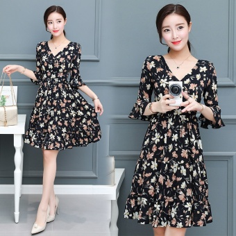 Women Floral Chiffon Dress Summer Short Sleeve A-line DressesV-neck - intl