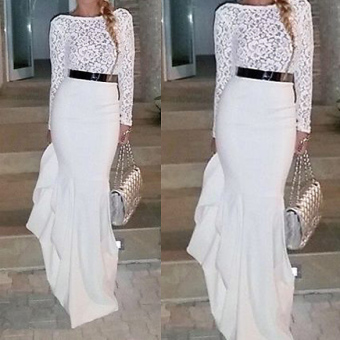 Women Long Sleeve Lace Gown Maxi Dress