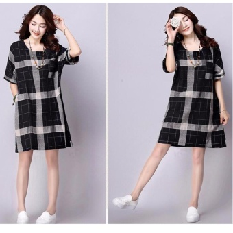 Women Plump Lady Pregnant Dress Chequered Shorts Linen Sleeve A-Line Dress O-Neck Shirt Dress Tops Plus Size (BLACK) - intl