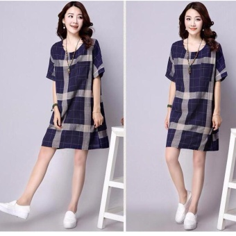 Women Plump Lady Pregnant Dress Chequered Shorts Linen Sleeve A-Line Dress O-Neck Shirt Dress Tops Plus Size (blue) - intl