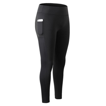 Women Quick Dry Fitness Running Yoga Leggings Sport Pants with SidePocket (Black) - intl