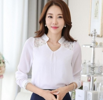 Women Tops Long Sleeve Casual Lace Chiffon Blouse Female V-Neck Work Wear Solid Color Office Shirts For Women 3XL White - intl