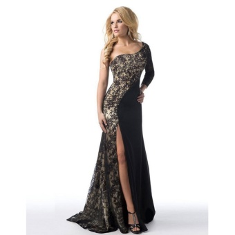 Women's Prom Gown Sexy One Shoulder Lace Long Sleeve Mermaid Slit Maxi Dress (Black) - intl