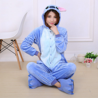 Yika Stitch Adult Unisex Pajamas Cosplay Costume Onesie SleepwearS-XL (Blue)