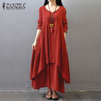 ZANZEA Boho Long Maxi Dress Women Casual Solid Cotton Linen Vestidos Plus Size Elegant Loose Full Sleeve V-Neck Dress (Brick-Red) - intl
