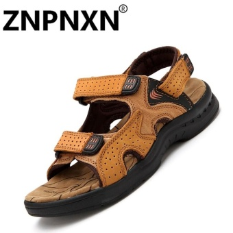 ZNPNXN Leather Men'sFashion Shoes Sandals(Khaki) - Intl