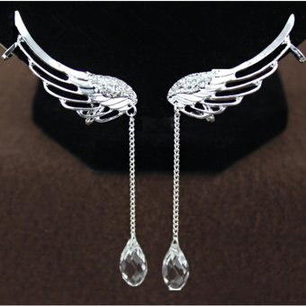 1pc Fairy Angel Wings Ear Clip Crystal Chain Earring (Silver)