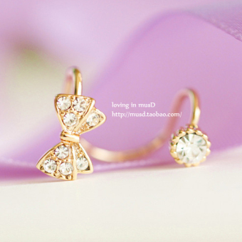 Cute crystal Cooljie clip ear clip earrings