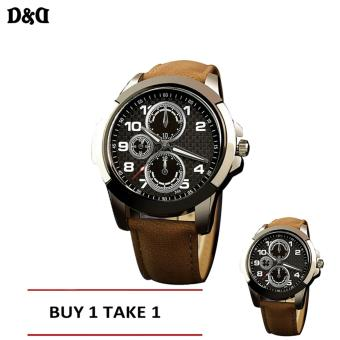 Greatnes D&D Men's Leather Strap Military Quartz Watch C-XY-3999 Buy One Take One